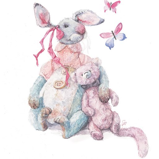 Lithograph Rabbit and Bear