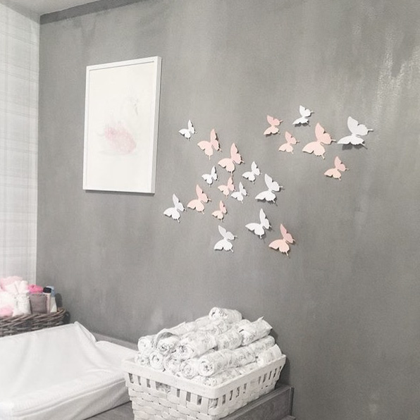 Wall Decor Butterfly Pink White