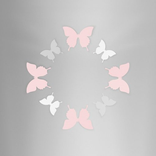 Wall Decor Butterfly Pink White Gray