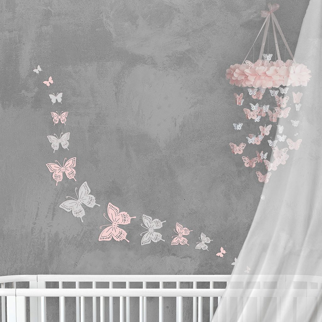 Wall Decor Butterfly Pink White Mix