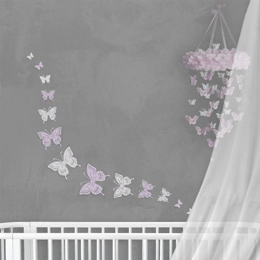 Wall Decor Butterfly Lavender White