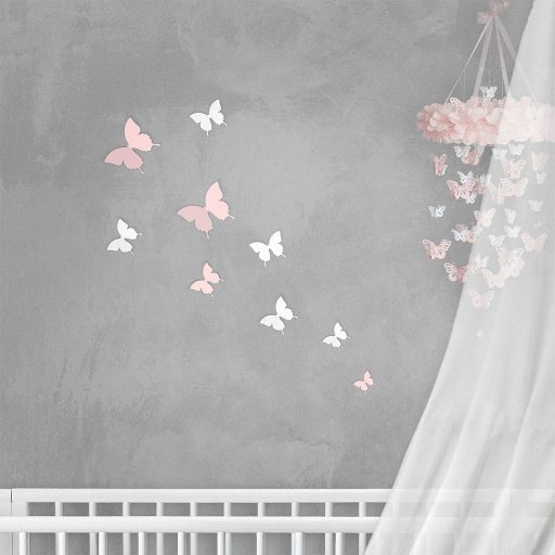 Wall Decor Butterfly Basic Set Pink White